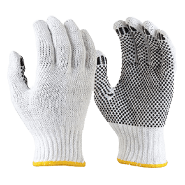 Knitted Poly Cotton Gloves With PVC Dots