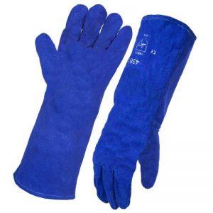 Leather Lined Gauntlet Blue Welding Gloves