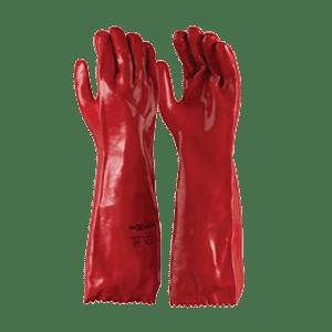 Red PVC Single Dip Gloves