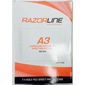 Razorline A3 Sheet Protectors Landscape 100 Pack