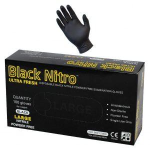 Black Nitrile Nitro Powder Free Disposable Gloves-Heavy Duty