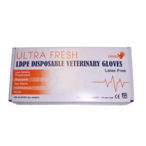 Ultra Fresh Orange Ldpe Disposable Veterinary Gloves - Carton Of 1000
