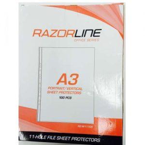 Razorline A3 Sheet Protectors Portrait 100 Pack