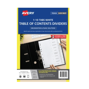 Avery 85610 Divider 1-10 Index Tabs A4 White