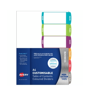 Avery 922001 Customisable Table Of Contents Dividers Days Tabs Landscape/Portrait Ready Index (922001 / L7411-6)