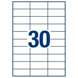 A4 Labels 30 Per Page 64×26.7mm 100 Sheets